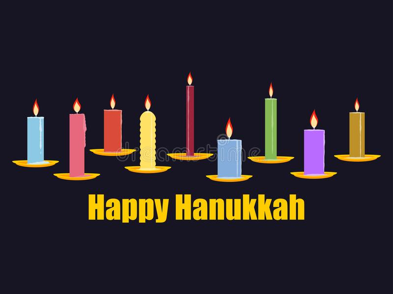Happy Chanukah. Celebratory background with nine candles, golden saucers. Vector royalty free illustration