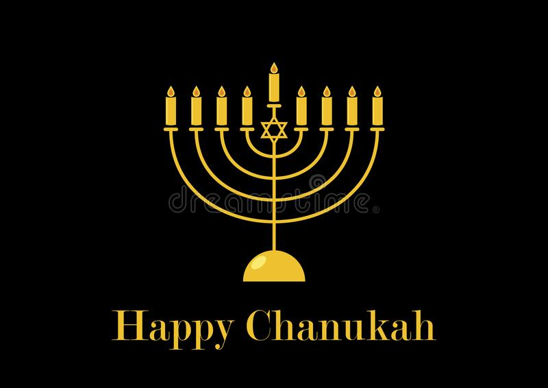 Happy Chanukah golden candlestick vector stock illustration