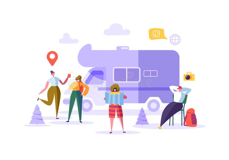 Happy Characters on Vacation. Travel on Car Concept with Flat People Travelers. Man and Woman Traveling. Tourists royalty free illustration