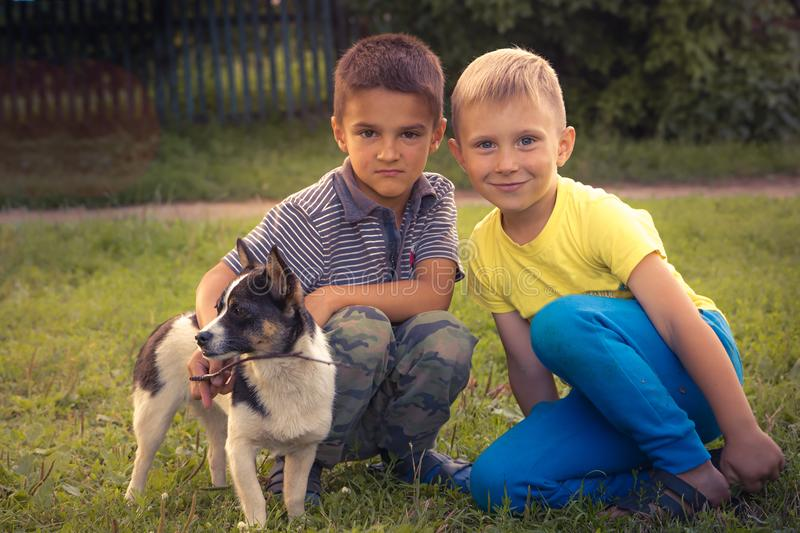 Happy cheerful children kids friends playing with puppy concept happy childhood friendship lifestyle royalty free stock photos