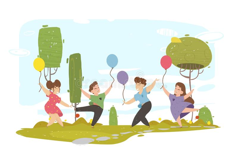 Happy Cheerful Children Walk in City Park illustrazione vettoriale