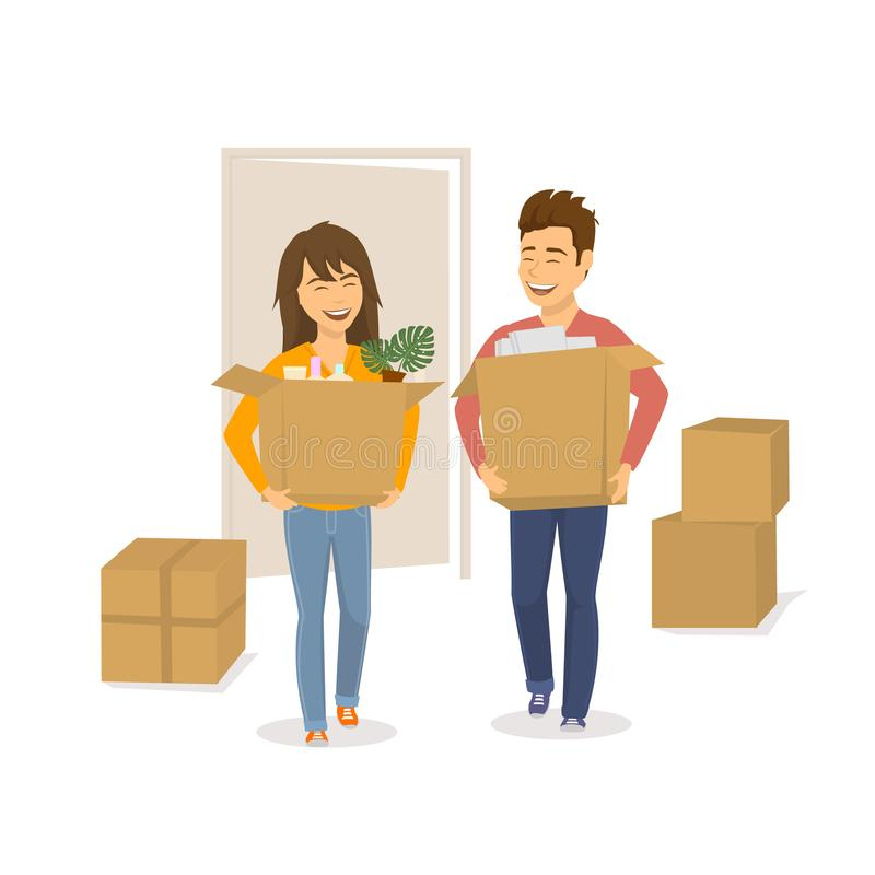 Happy cheerful couple man and woman moving in together in a new house royalty free illustration