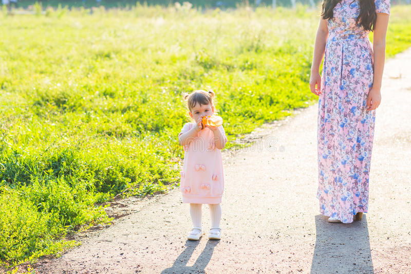 Happy cheerful family. Mother and baby have fun in nature outdoors stock photos