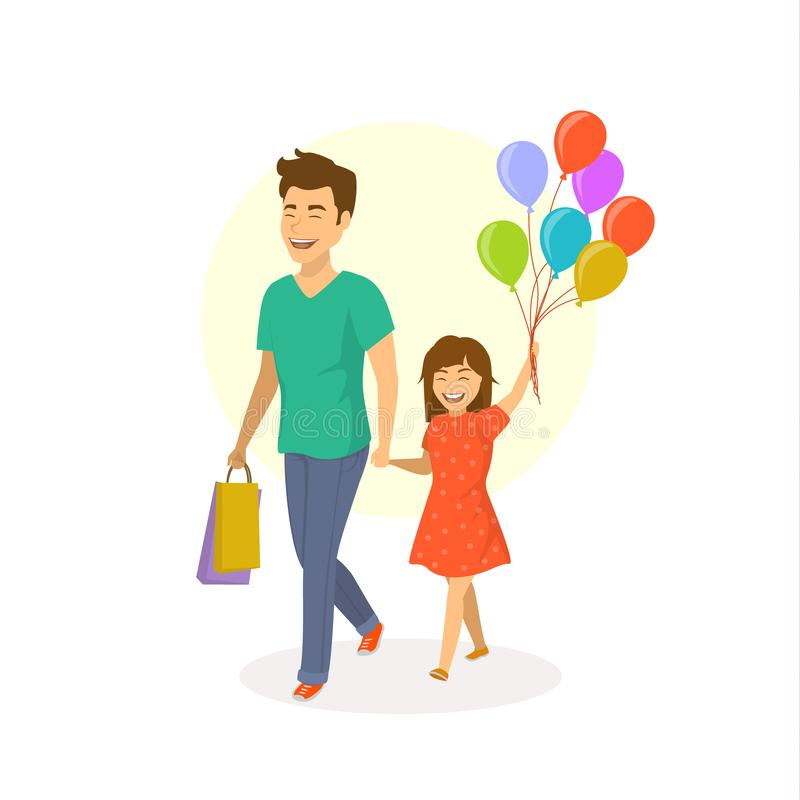 Happy cheerful laughing father and daughter walking together with balloons stock illustration