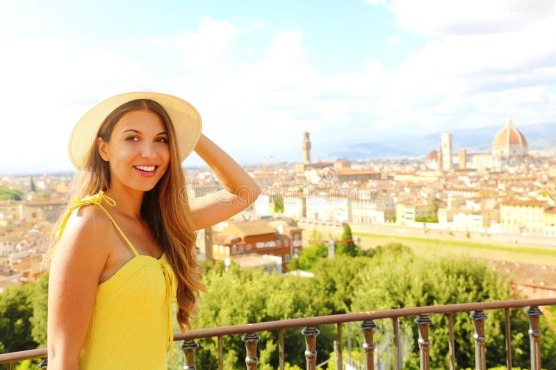 Happy cheerful tourist girl in Florence, Italy. Portrait of young woman visiting Italy royalty free stock images