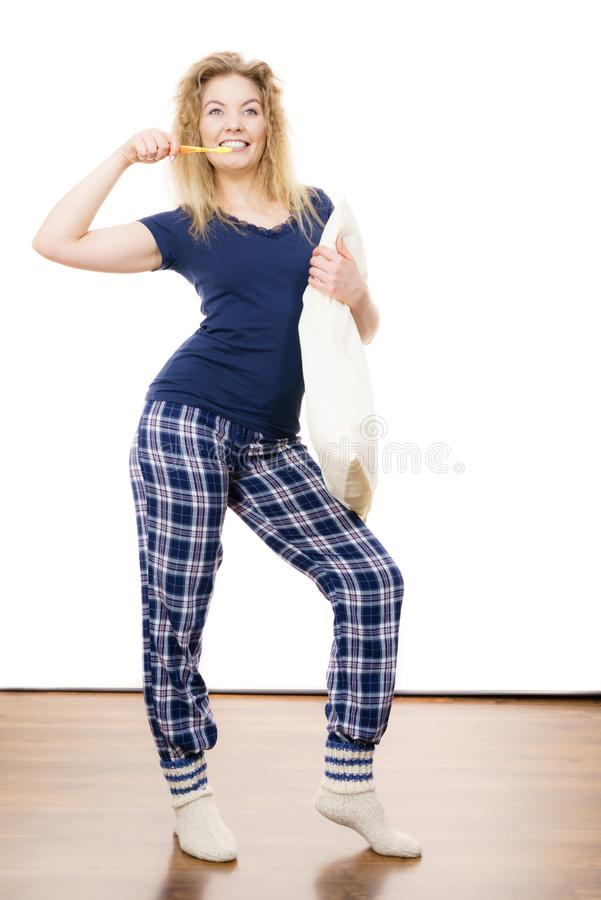 Happy cheerful woman wearing pajamas stock images