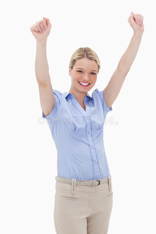 Download Happy cheering woman stock image. Image of close, achievement - 22663899