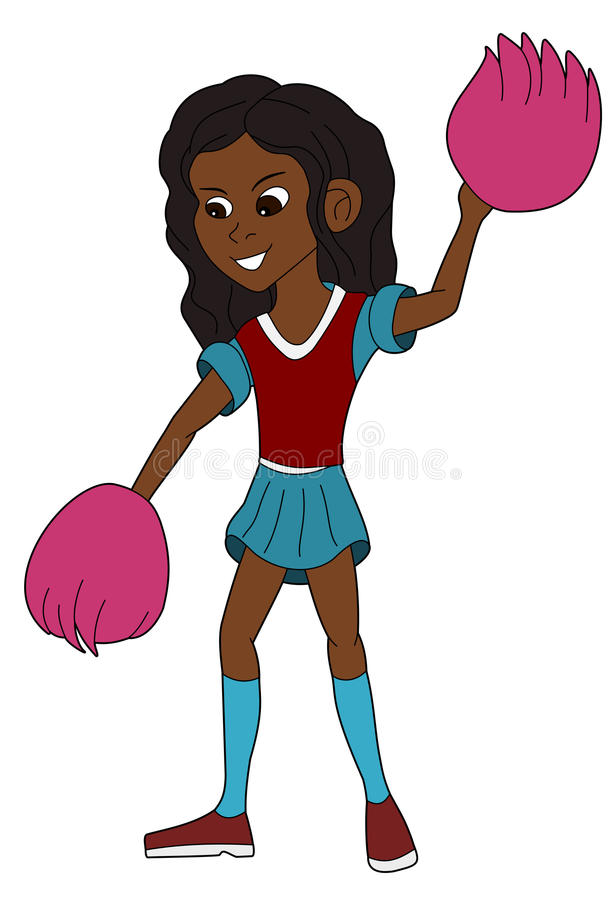 Happy cheerleader cartoon stock image