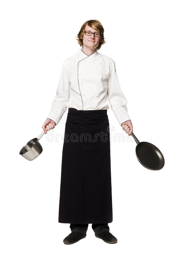 Happy chef. Towards white background royalty free stock photos