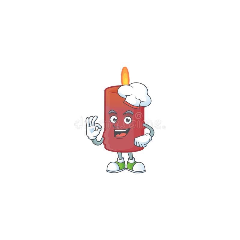 Happy Chef czerwona świeca postać z białym kapeluszem ilustracji