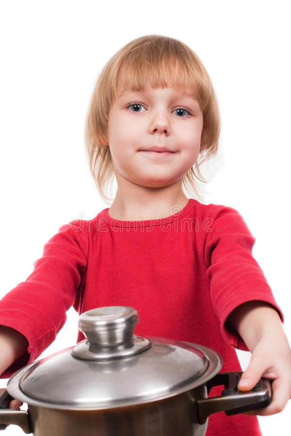 Download Happy Chef Girl Stirring Soup Stock Image - Image: 12181127