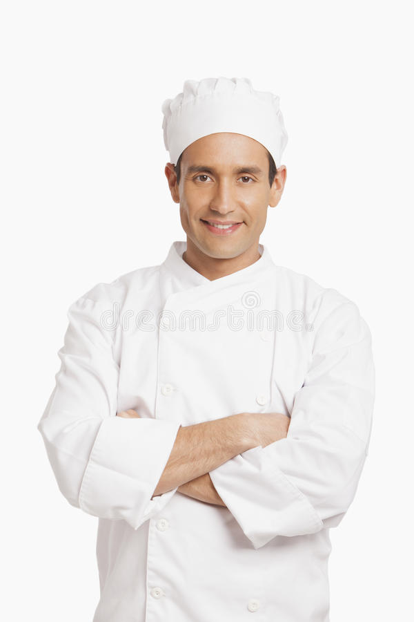 Happy chef. Isolated in white background stock images