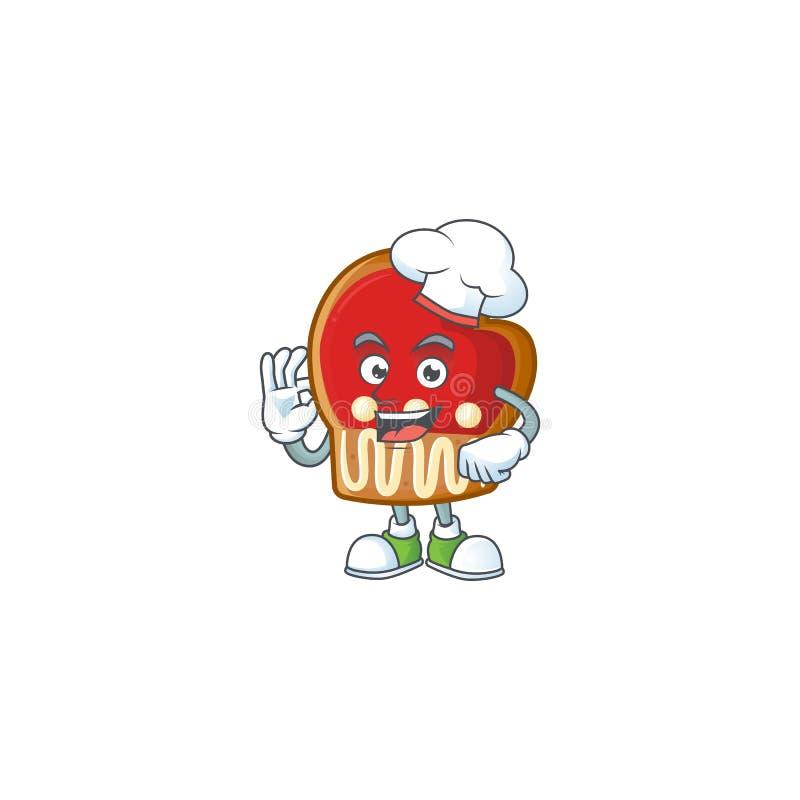 Happy Chef rękawiczki ciasteczka postać z kreskówki z białym kapeluszem royalty ilustracja