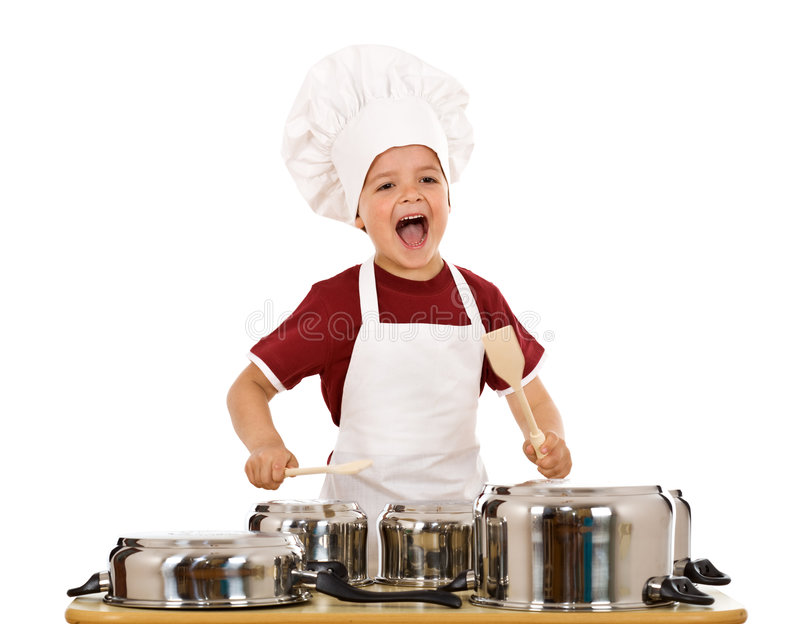 Happy chef shouting and banging the cooking pots. With wooden spoons - isolated royalty free stock photography