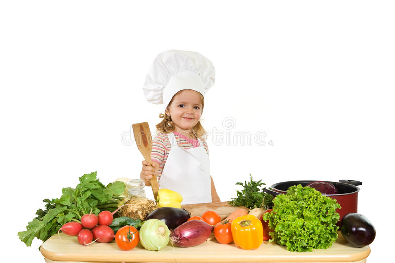 Happy chef with vegetables royalty free stock photos
