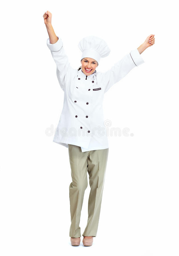 Happy chef woman. Isolated over white background royalty free stock photos