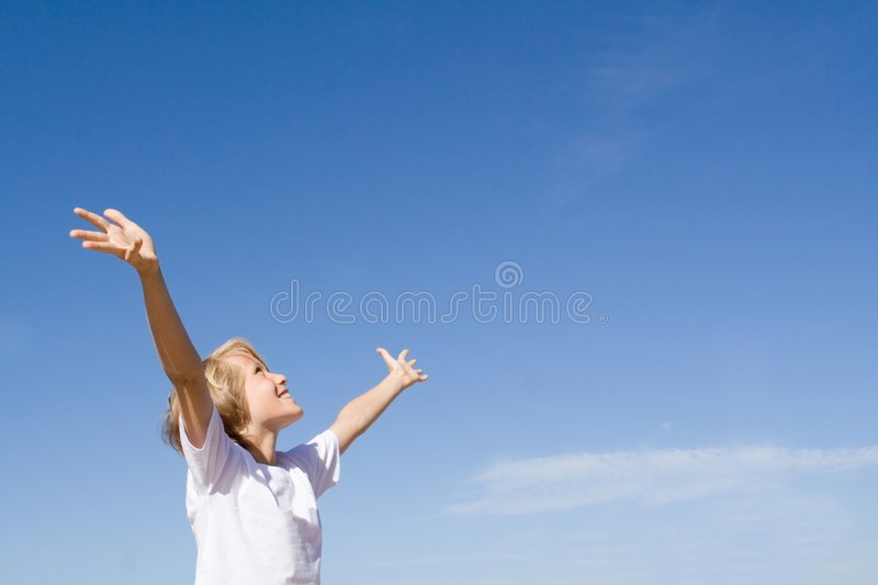 Download Happy child arms raised stock photo. Image of outdoors - 5077690