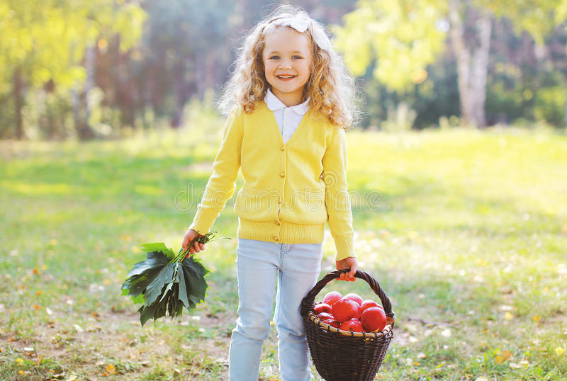 Happy child with autumn basket having fun royalty free stock image
