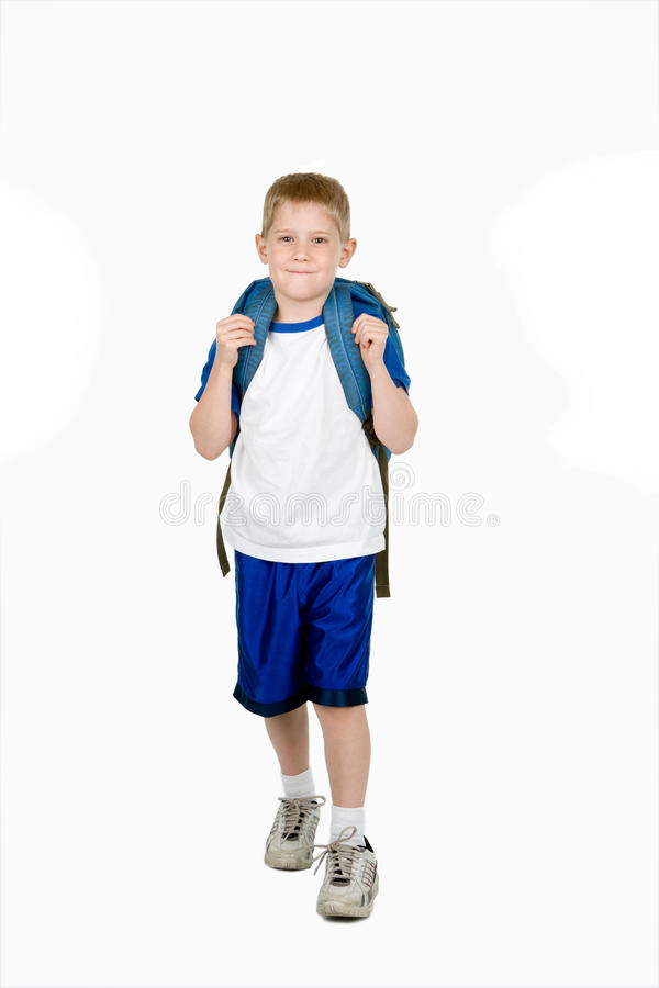 Happy Child with Backpack royalty free stock images