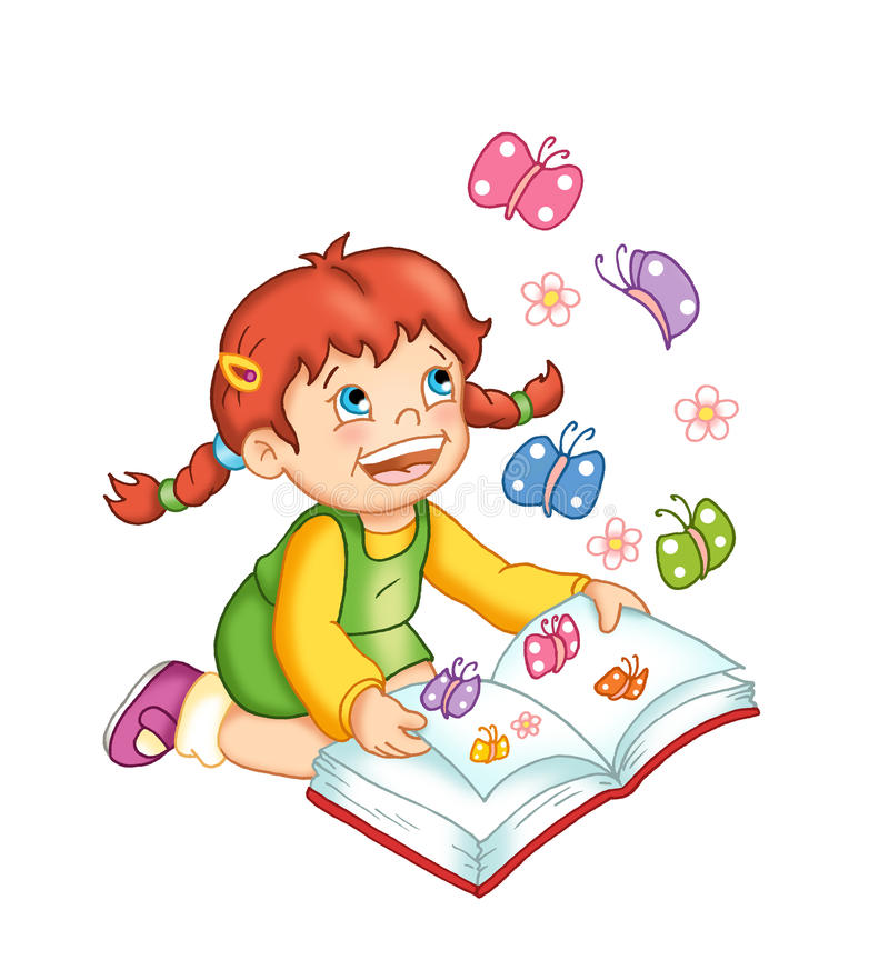 Happy child with book stock illustration
