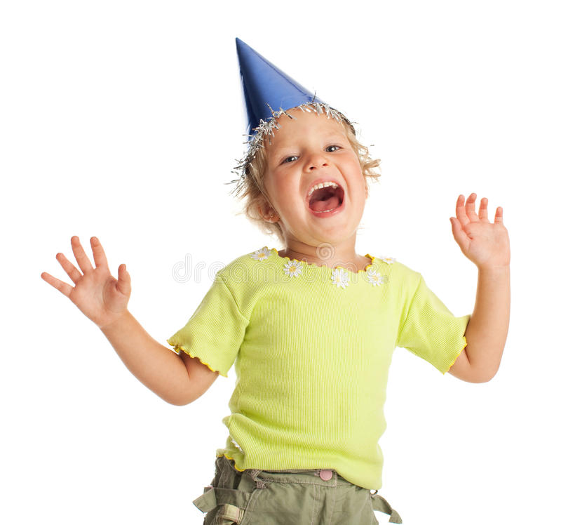 Happy child in the cap royalty free stock photos