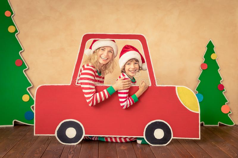 Happy child on Christmas eve stock photo