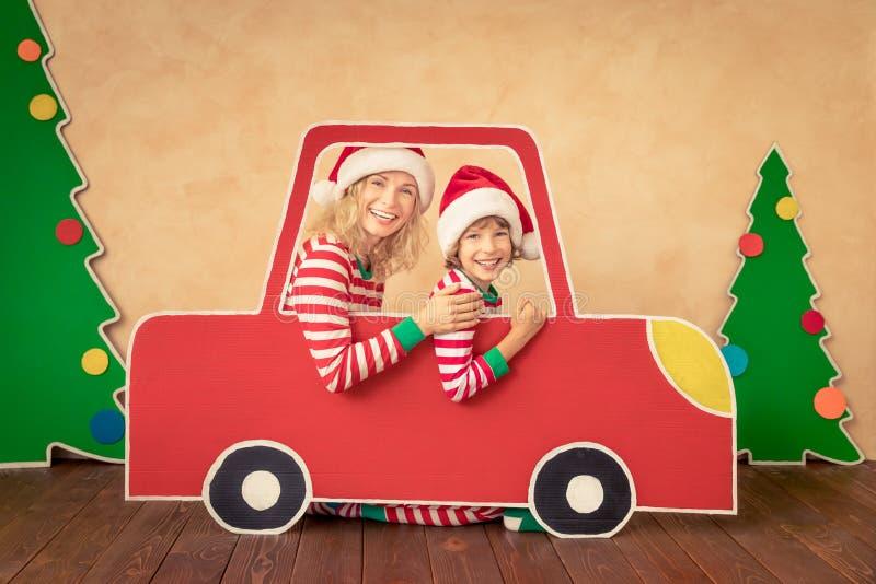 Happy child on Christmas eve stock photo