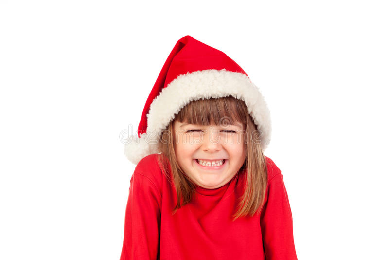 Happy child with Christmas hat royalty free stock photos