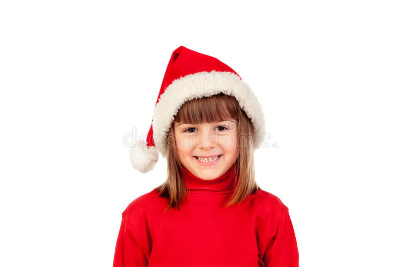 Happy child with Christmas hat royalty free stock photo