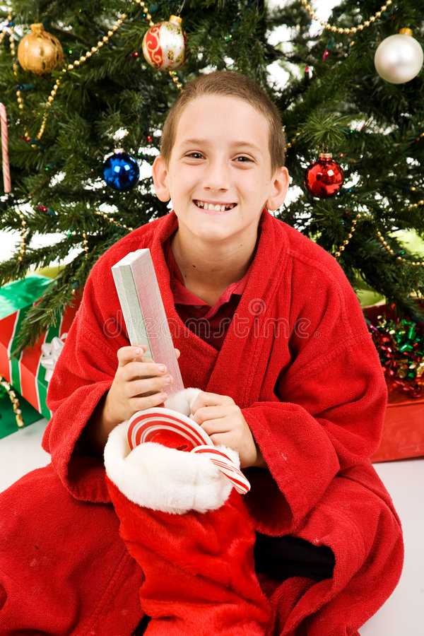 Download Happy Child On Christmas Morning Royalty Free Stock Images - Image: 7138659