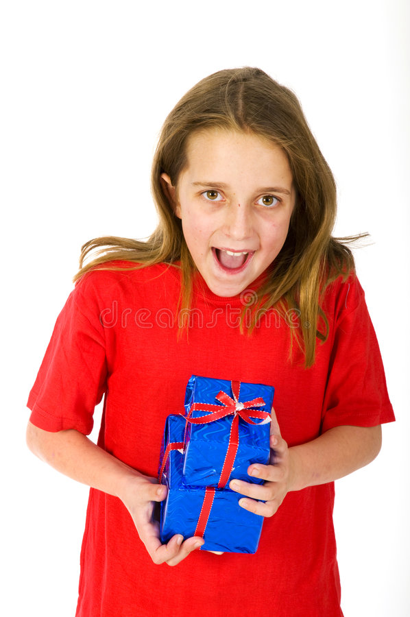 Happy Child With Christmas Presents Royalty Free Stock Photography