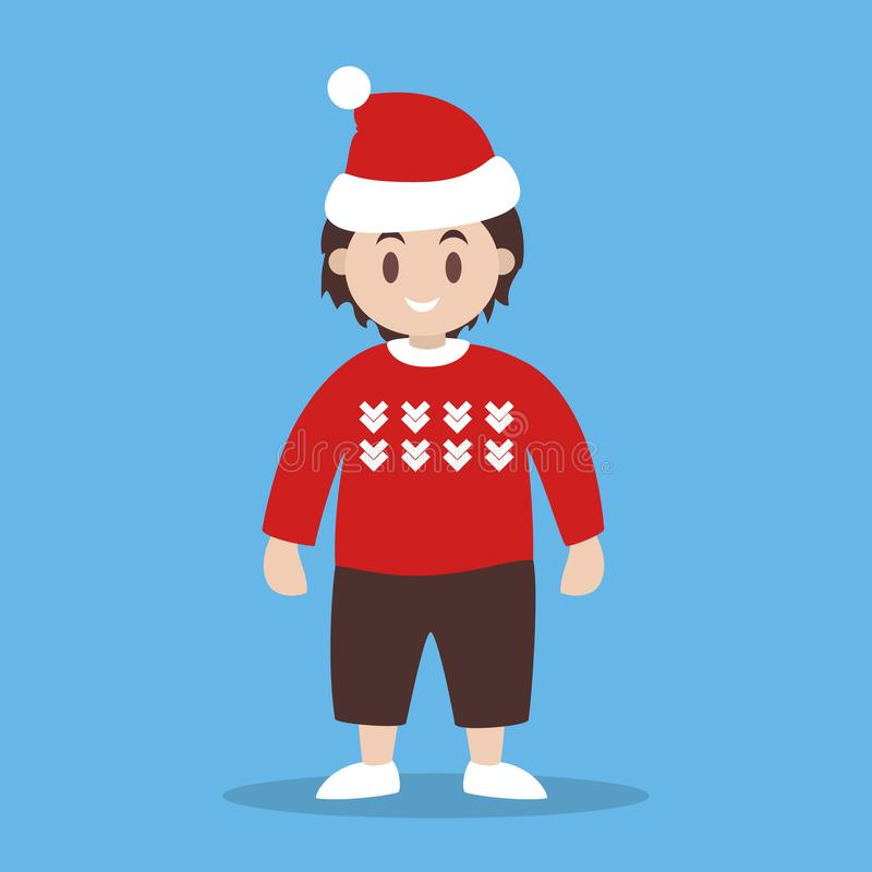 Happy child in christmas sweater. Cute character, winter. Holiday. Kid in warm clothes. Isolated vector illustration in flat style vector illustration