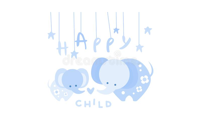 Happy child, cute kids poster with an elephant in blue colors, template can be used for invitation, card, poster, banner. Vector Illustration, web design vector illustration
