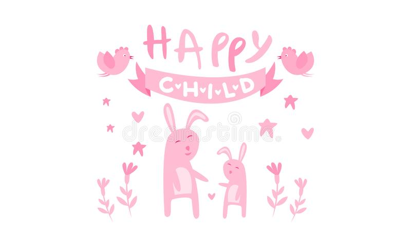 Happy child, cute kids poster with little bunnies in pink colors, template can be used for invitation, card, poster. Banner vector Illustration, web design royalty free illustration