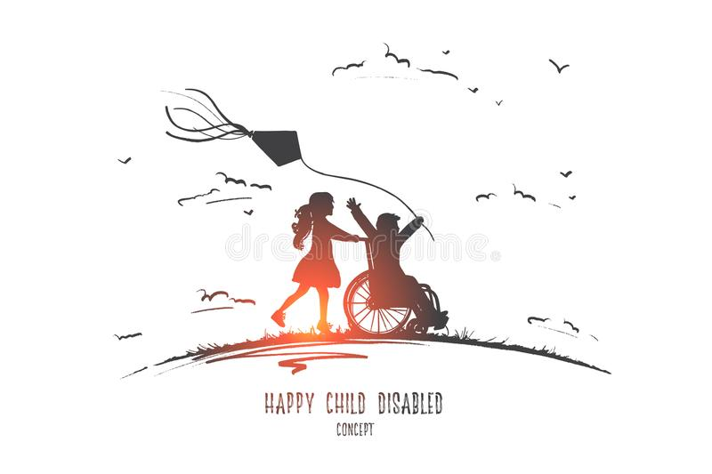 Happy child disabled concept. Hand drawn isolated vector. Happy child disabled concept. Hand drawn little girl pushing boy in wheel chair. Disabled has fun royalty free illustration