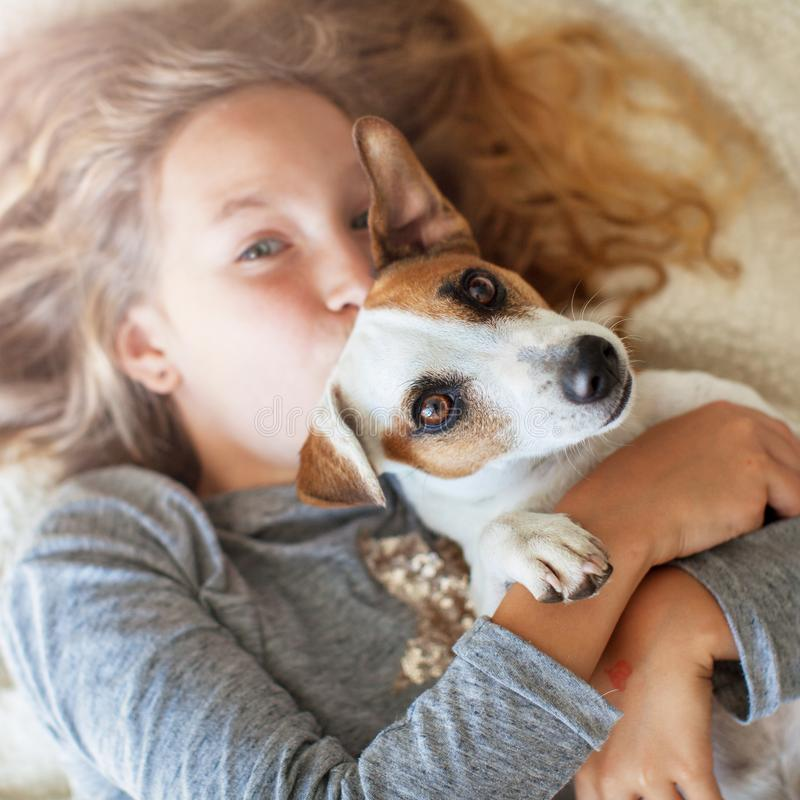 Happy child with dog royalty free stock images