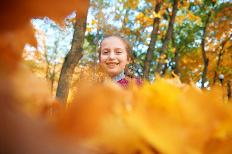 Happy child girl plays and looks through yellow leaves in autumn city park. Bright yellow trees and leaves royalty free stock photo