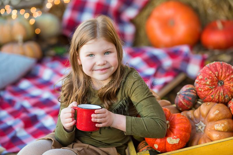 Happy child girl with pumpkin outdoors in halloween park. Happy child girl with pumpkin outdoors in halloween stock image