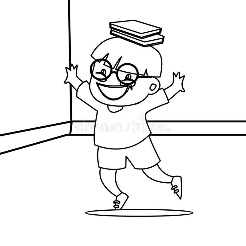Download Happy Child With Glasses Coloring Page Stock Illustration