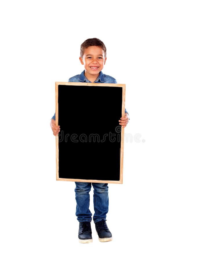 Happy child holding a blank slate royalty free stock photography