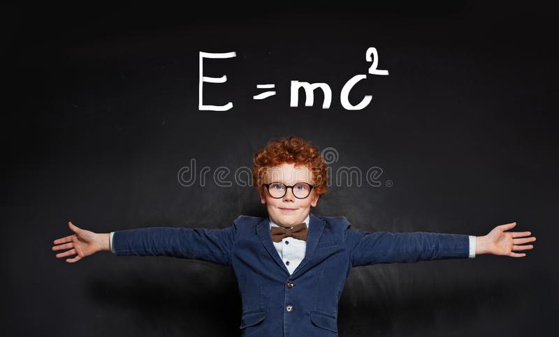 Happy child learning science royalty free stock photography