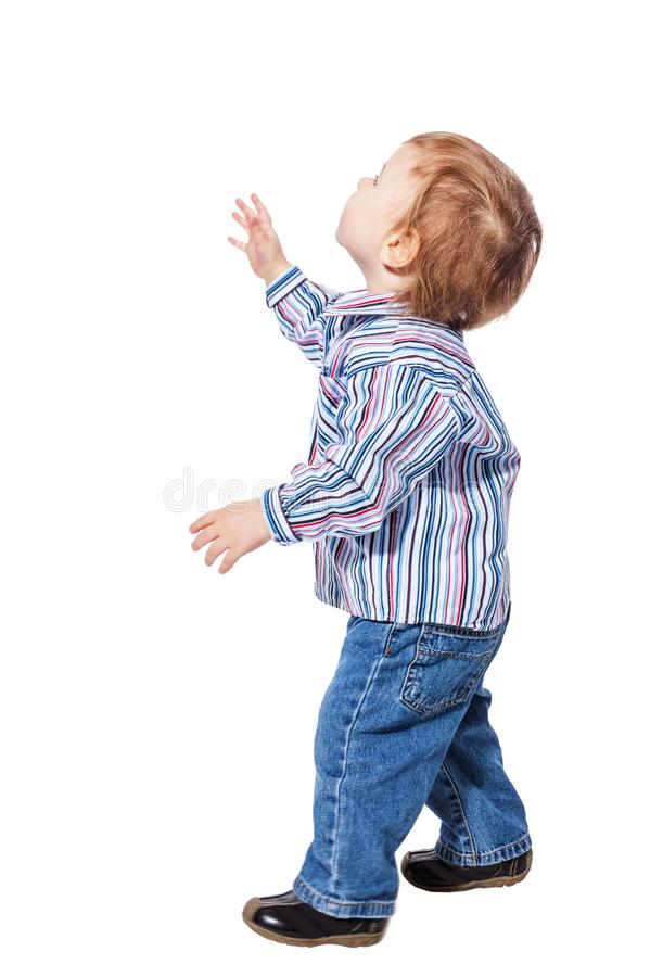 Boy look up stock photography