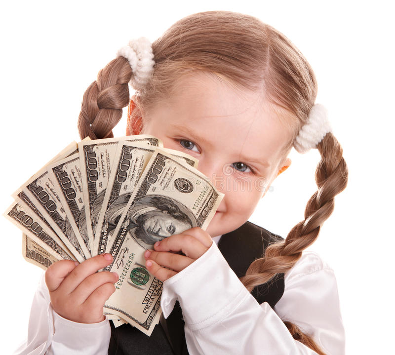 Download Happy Child With Money Dollar. Stock Photo - Image: 15310324