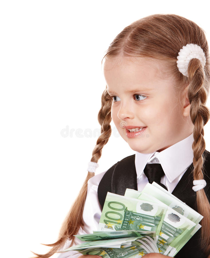 Download Happy Child With Money Euro. Stock Photo - Image: 15473304