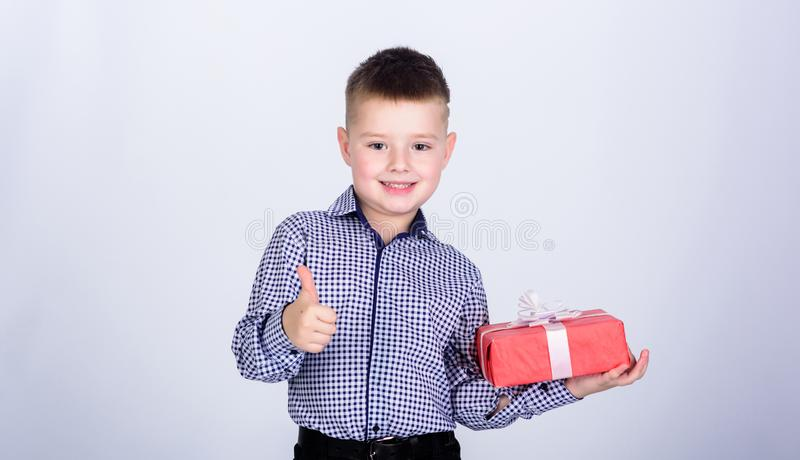 Happy child with present box. Christmas. little boy with valentines day gift. Birthday party. Shopping. Boxing day. New. Year. business style. Happy childhood royalty free stock images