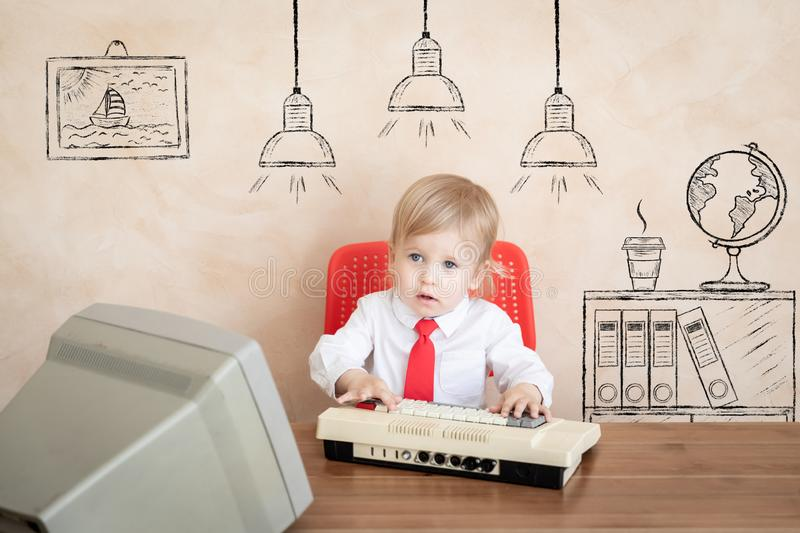 Education, start up and business idea concept. Happy child pretend to be businessmen. Funny kid playing at home. Education, start up and business idea concept royalty free stock photo