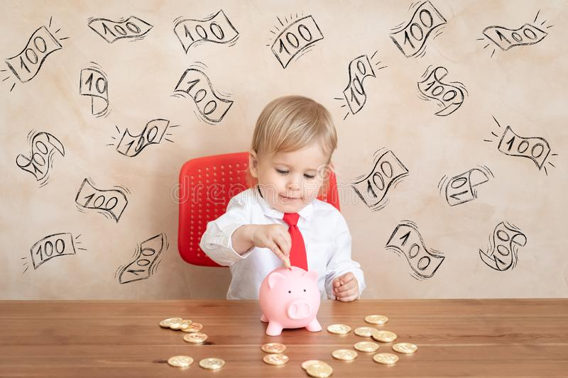Education, start up and business idea concept. Happy child pretend to be businessmen. Funny kid playing at home. Education, start up and business idea concept royalty free stock photos