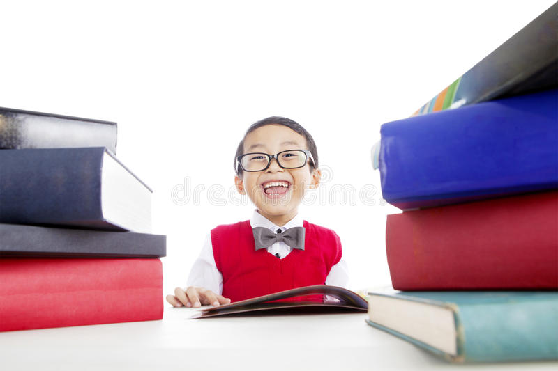 Happy Child Reading Books Stock Images