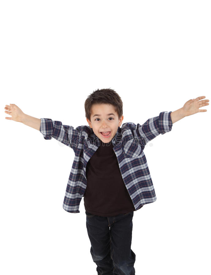 Happy child running with open arms royalty free stock image