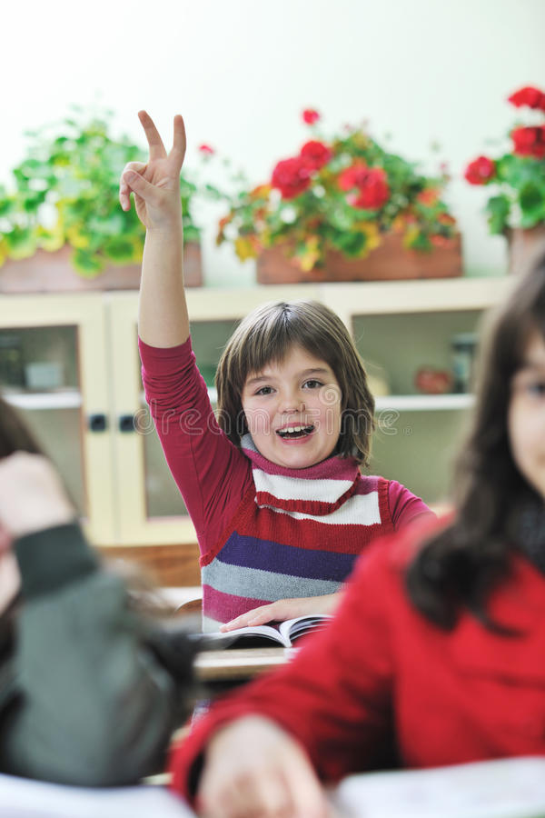 Happy child in schoold have fun and learning royalty free stock image
